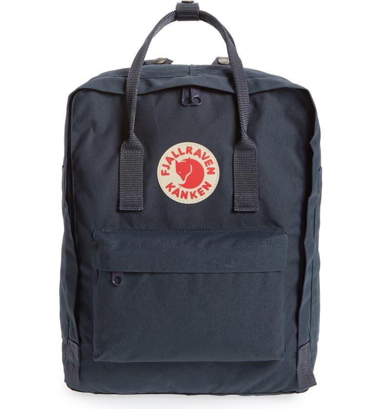 FJÄLLRÄVEN Kånken Water Resistant Backpack, Main, color, NAVY