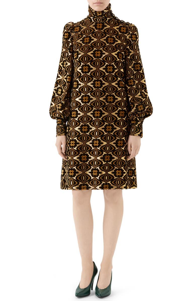 GUCCI Metallic Chenille Jacquard Long Sleeve Dress, Main, color, BLACK/ GOLD