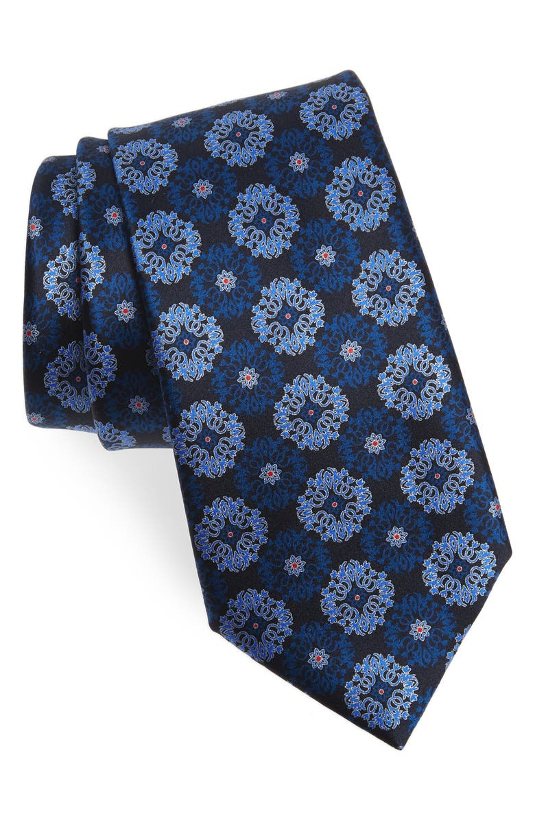 ERMENEGILDO ZEGNA Medallion Silk Tie, Main, color, BLUE FAN