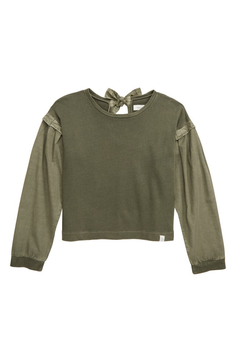 TREASURE & BOND Mixed Media Sweatshirt, Main, color, OLIVE SARMA
