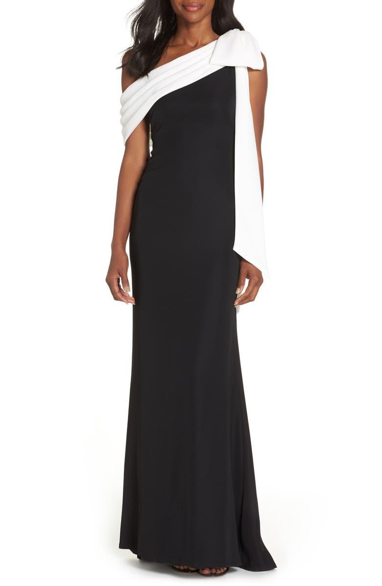 TADASHI SHOJI Crepe Gown, Main, color, BLACK/ WHITE