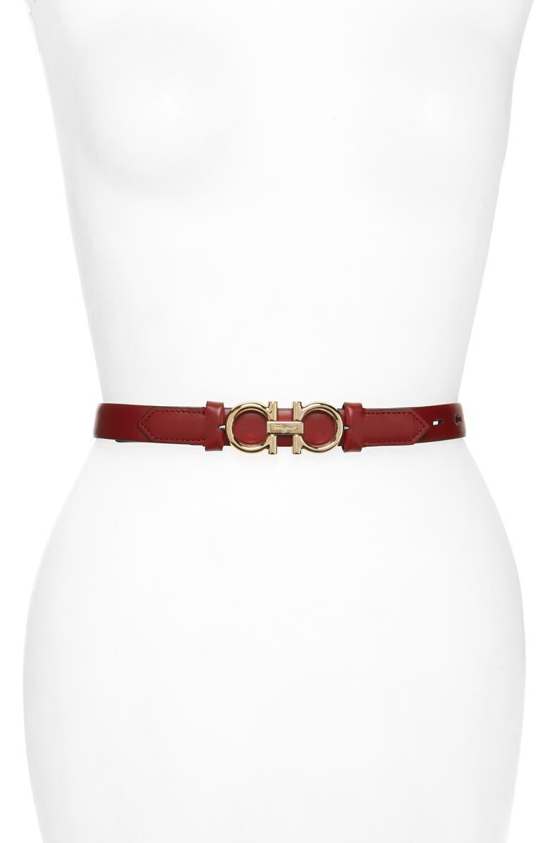 SALVATORE FERRAGAMO Double Gancio Reversible Buckle Leather Belt, Main, color, RED CHILE