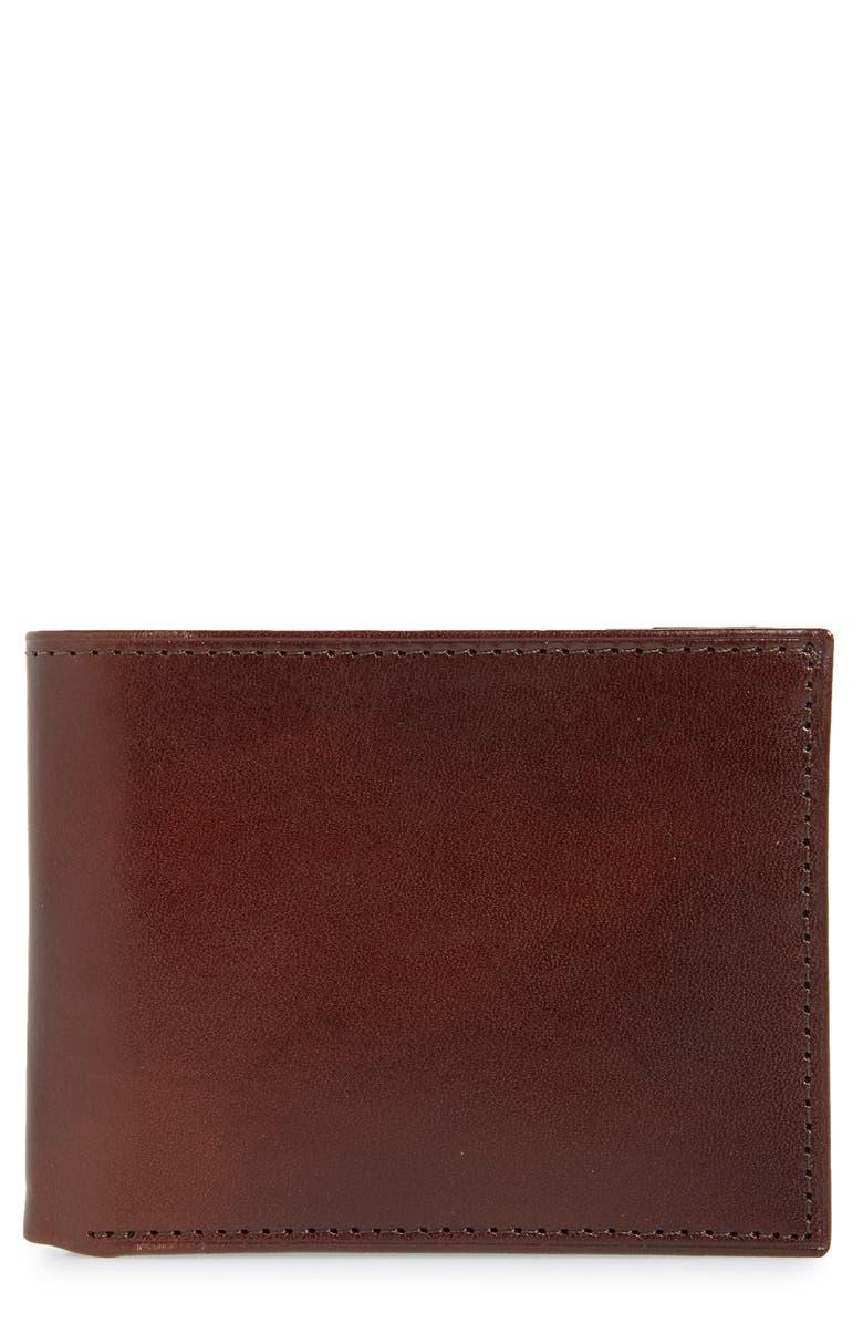 JOHNSTON & MURPHY Slimfold Leather Wallet, Main, color, 200