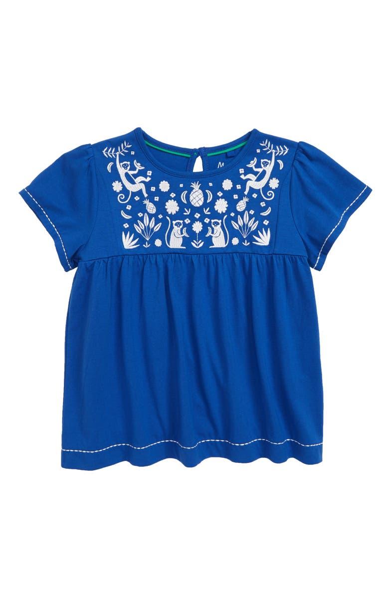 MINI BODEN Embroidered Yoke Top, Main, color, BBL DUKE BLUE MONKEYS