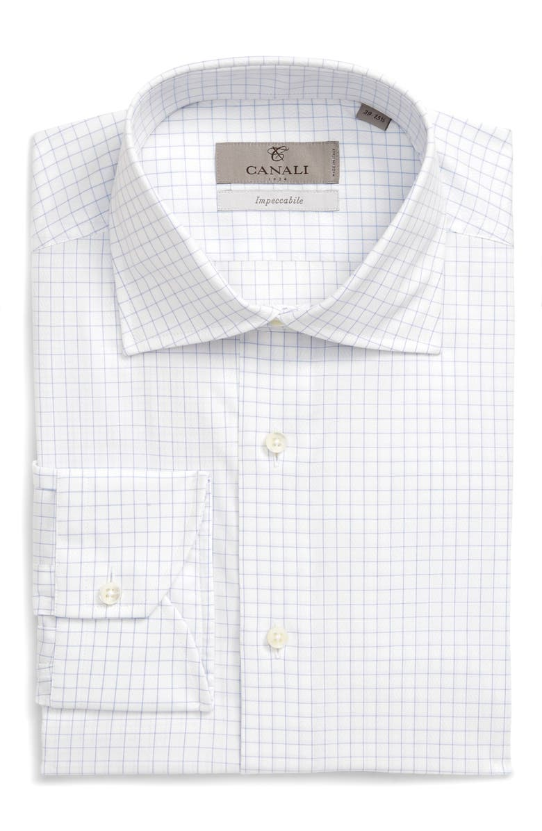 CANALI Slim Fit Check Dress Shirt, Main, color, LIGHT BLUE