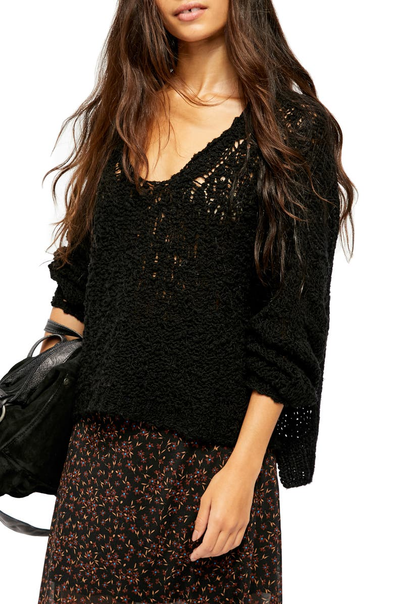 FREE PEOPLE Sunday Shore Cotton Blend Sweater, Main, color, BLACK