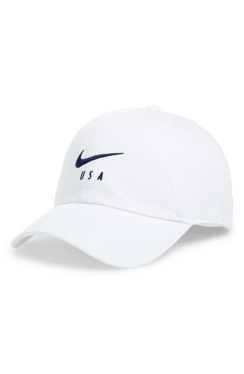 NIKE USA Heritage86 Cap, Main, color, WHITE/ BLUE VOID