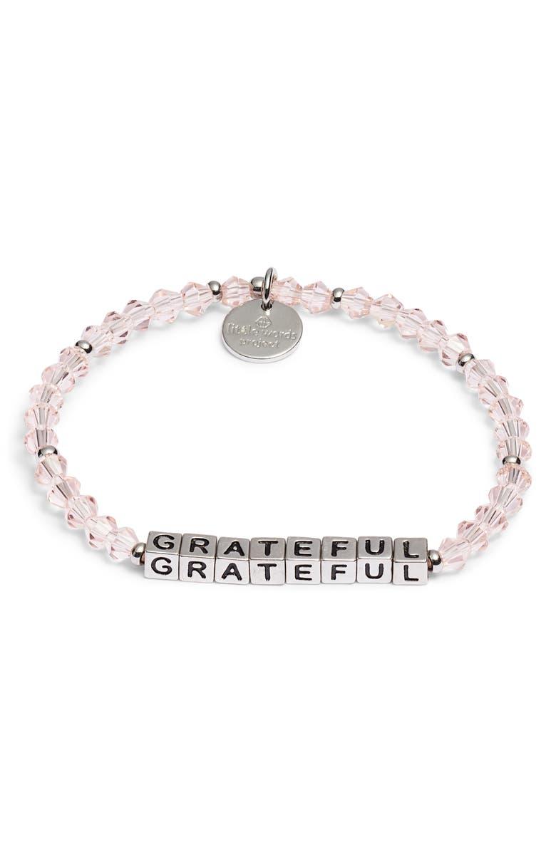 LITTLE WORDS PROJECT Grateful Bracelet, Main, color, VINTAGE ROSE PINK SILVER