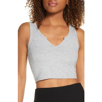Year Of Ours Cropped Notch Tank Top, Grey