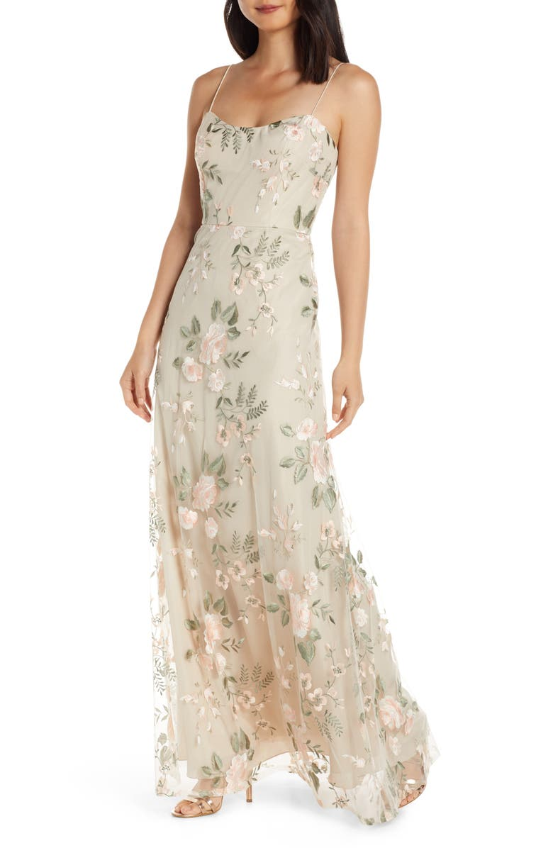 JENNY YOO Drew Floral Embroidered Tulle Evening Dress, Main, color, BLUSH SAND DUNE