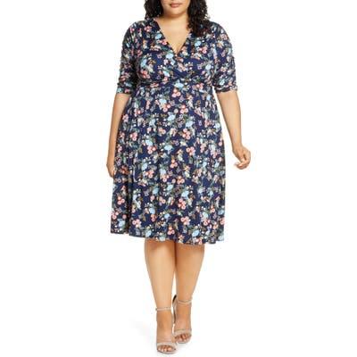 Plus Size Kiyonna Gabriella Print Jersey A-Line Dress, Blue