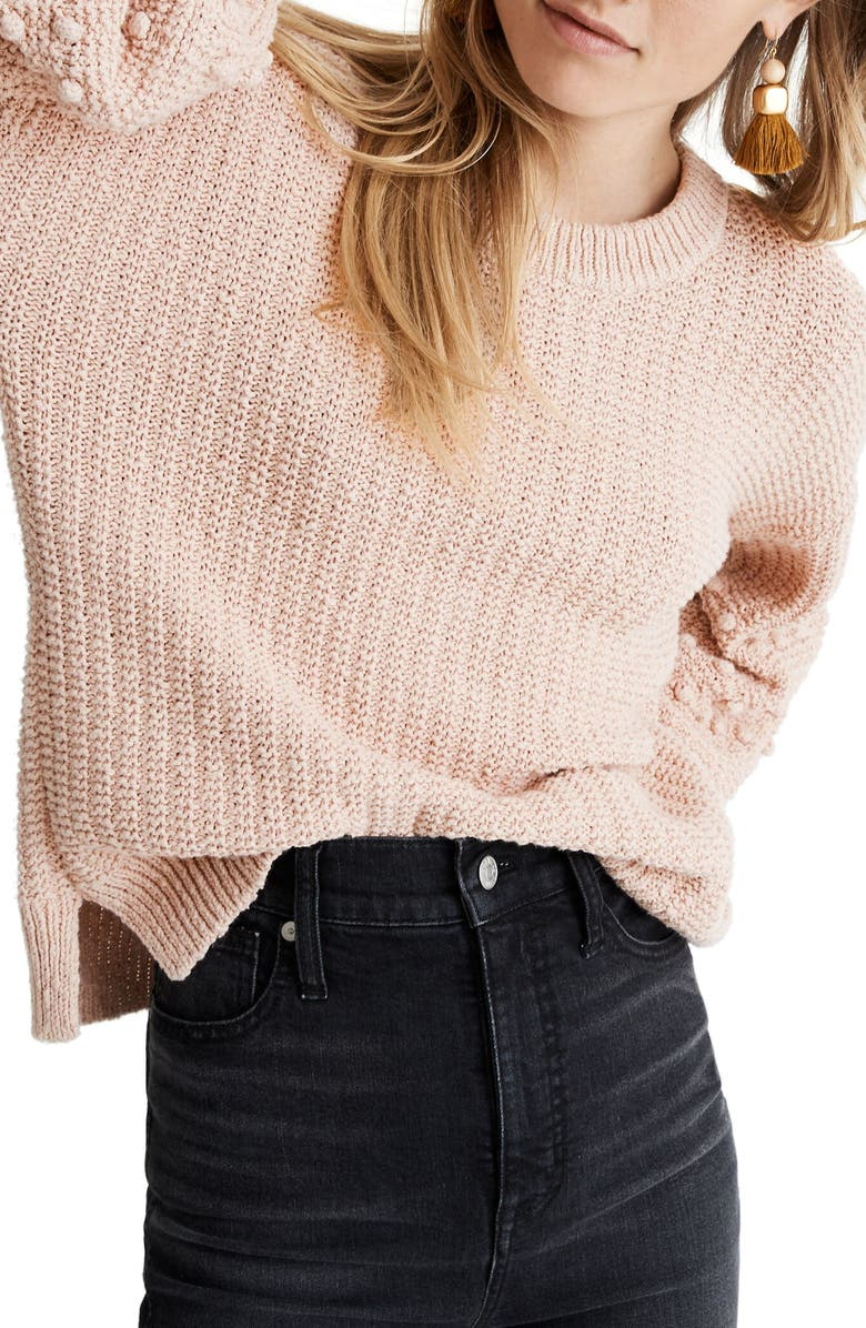 MADEWELL Bobble Sweater, Main, color, AVALON PINK