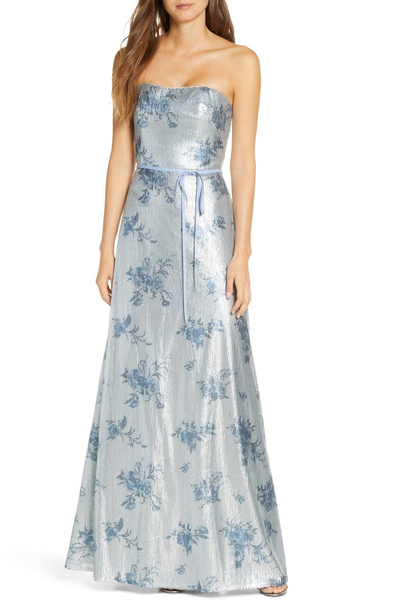 MARCHESA NOTTE Strapless Print Sequin Bridesmaid Gown, Main, color, DUSTY BLUE