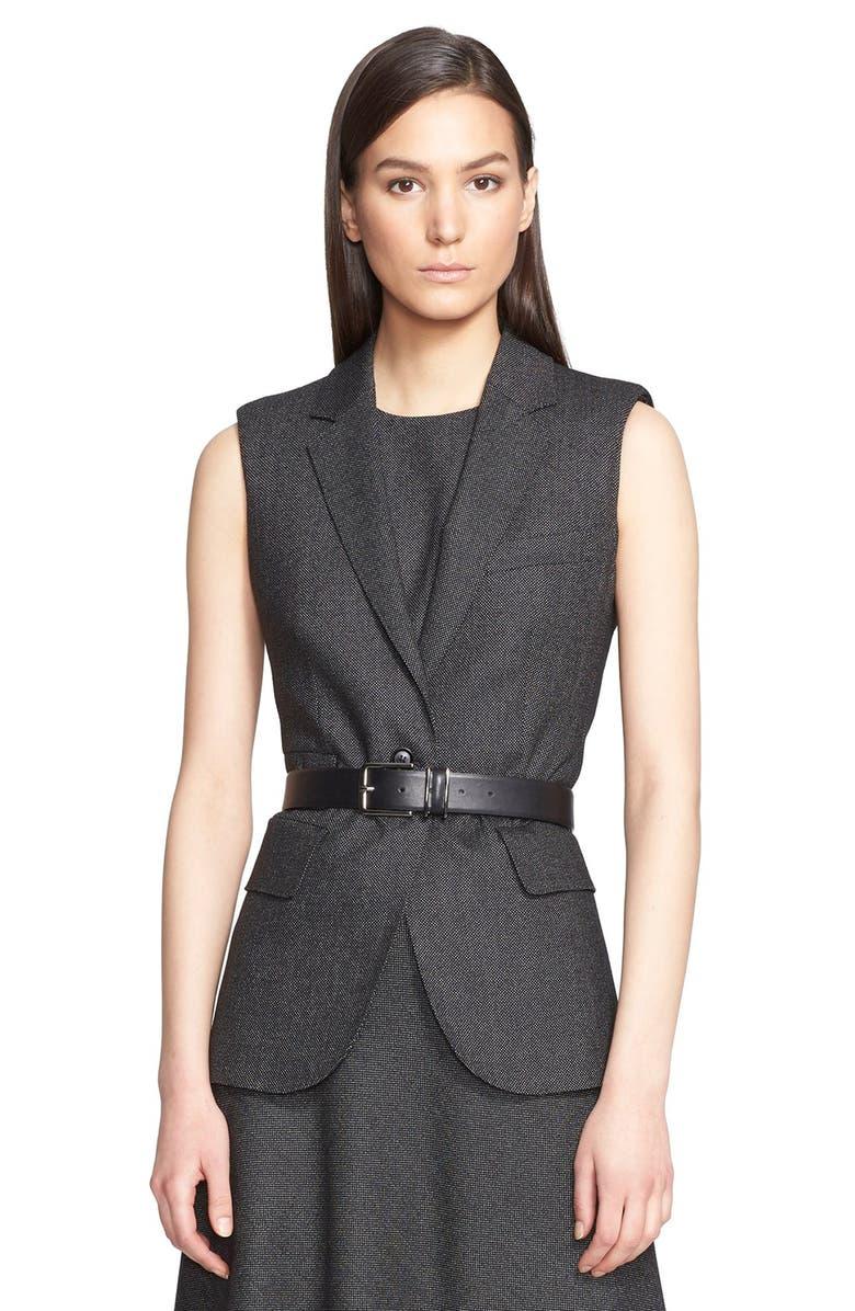 MAX MARA 'Ambra' Stretch Wool One-Button Vest, Main, color, 001