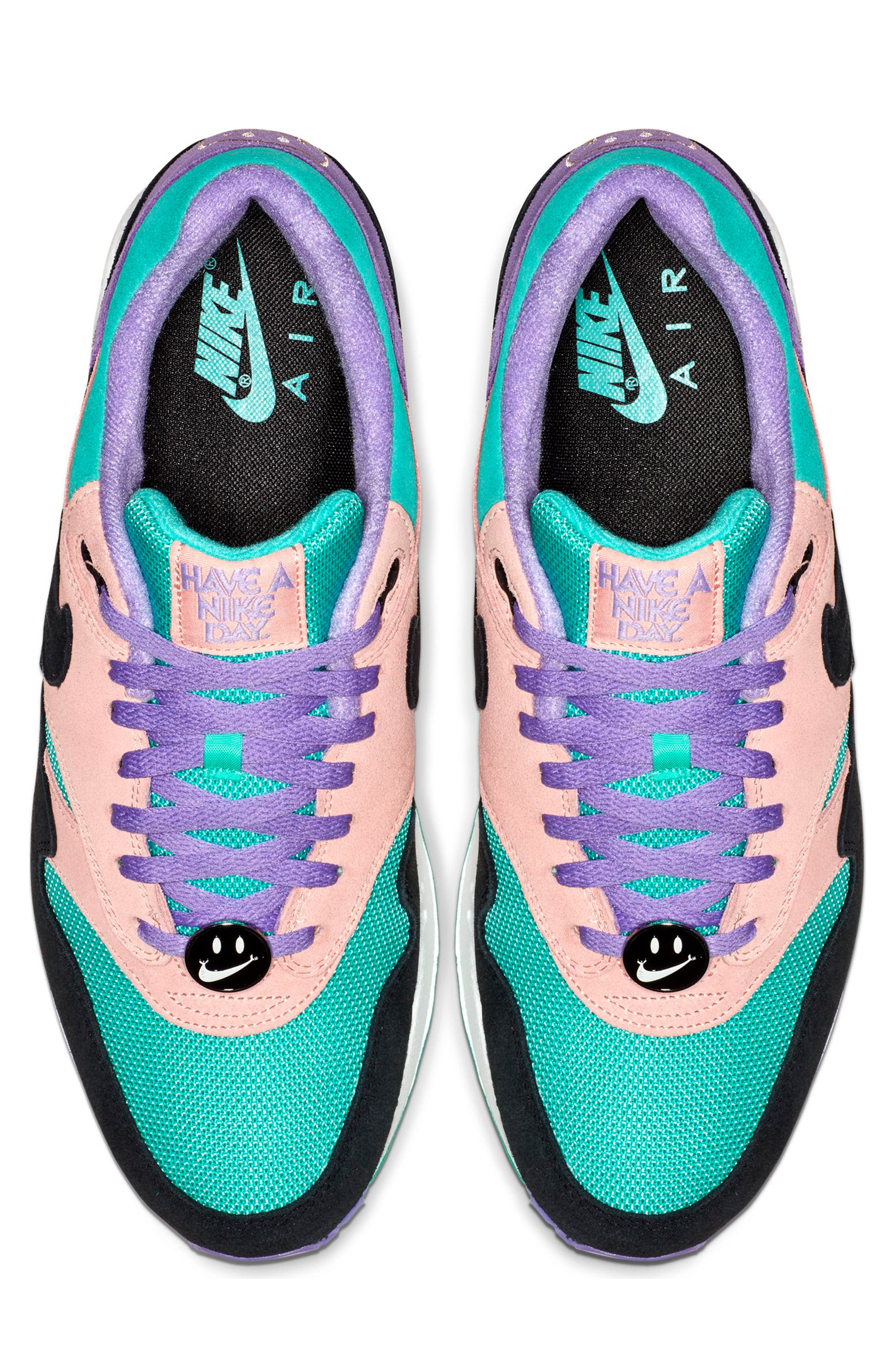 ,                             Air Max 1 Have a Nike Day Sneaker,                             Alternate thumbnail 4, color,                             SPACE PURPLE/ BLACK/ CORAL