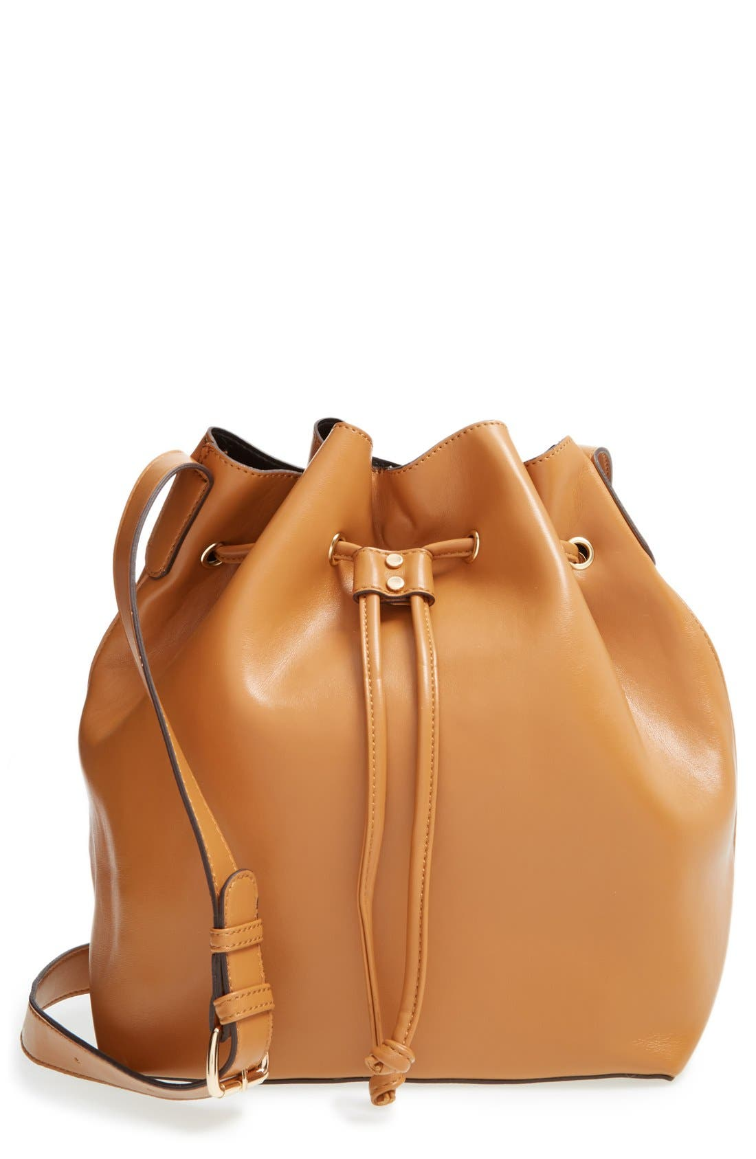 'Nevin' Faux Leather Drawstring Bucket Bag, Main, color, 200