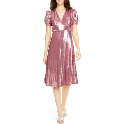 Hvn Paula Deep V-Neck Sequin Dress, Pink