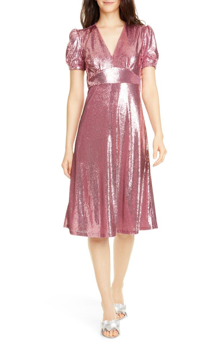 HVN Paula Deep V-Neck Sequin Dress, Main, color, PINK SEQUINS