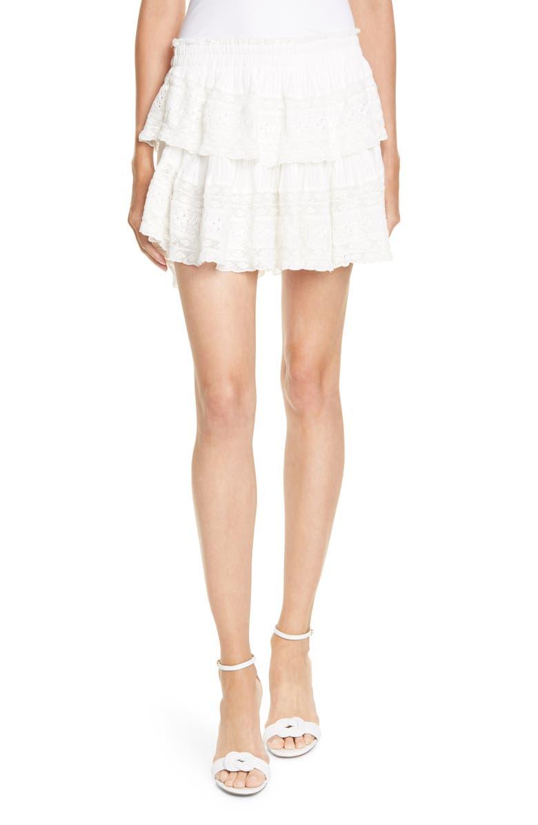 LOVESHACKFANCY Eyelet & Lace Trim Cotton Miniskirt, Main, color, 100