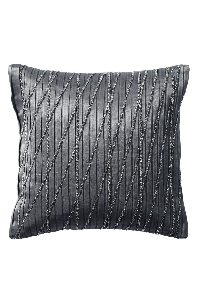 DONNA KARAN NEW YORK Current Beaded Accent Pillow, Main, color, GREY