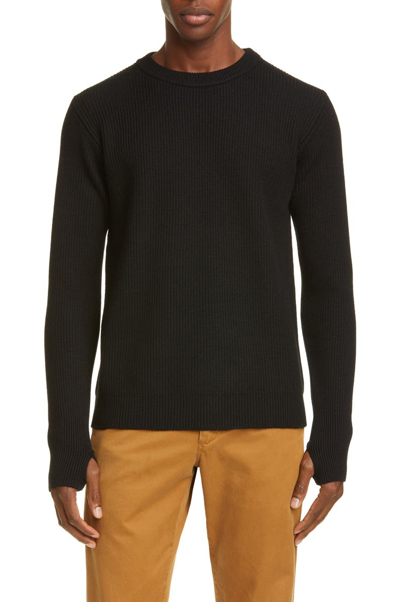 BARENA VENEZIA Corba Wool Crewneck Sweater, Main, color, NERO