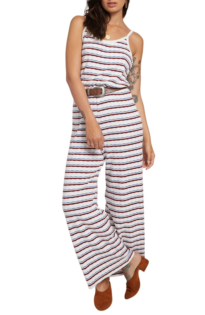 STONE ROW Skate Night Stripe Jumpsuit, Main, color, BRICK