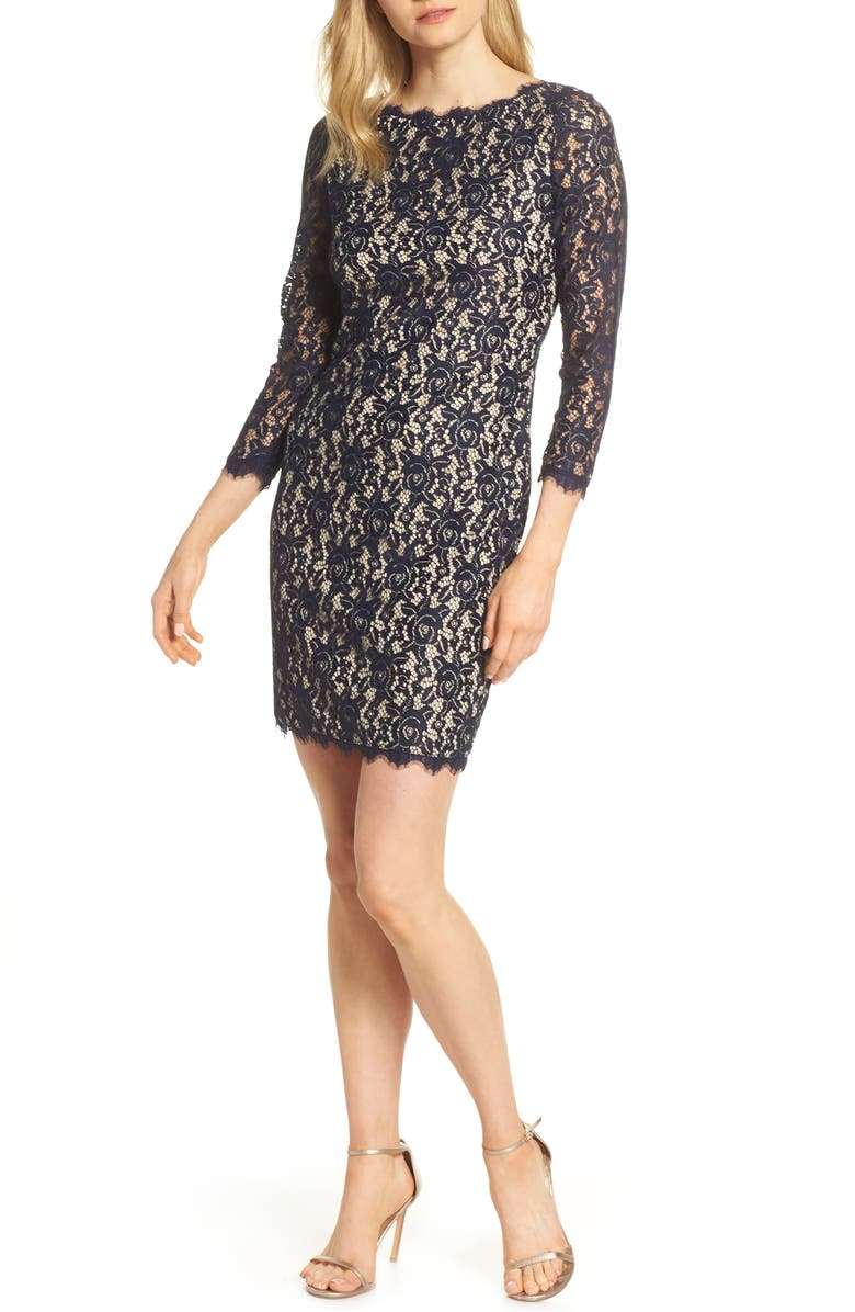 ELIZA J Embroidered Lace Sheath, Main, color, NAVY/ NUDE