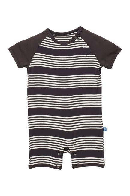 Image of KicKee Pants Striped Short Sleeve Raglan Romper
