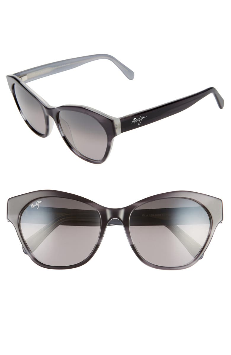 MAUI JIM Kila 54mm PolarizedPlus2<sup>®</sup> Cat Eye Sunglasses, Main, color, BLACK W/ PEAL INTERIOR