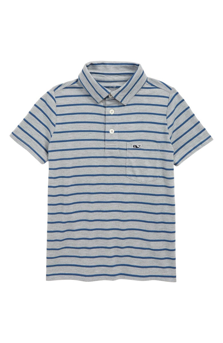 VINEYARD VINES Heathered Stripe Polo, Main, color, GREY HEATHER