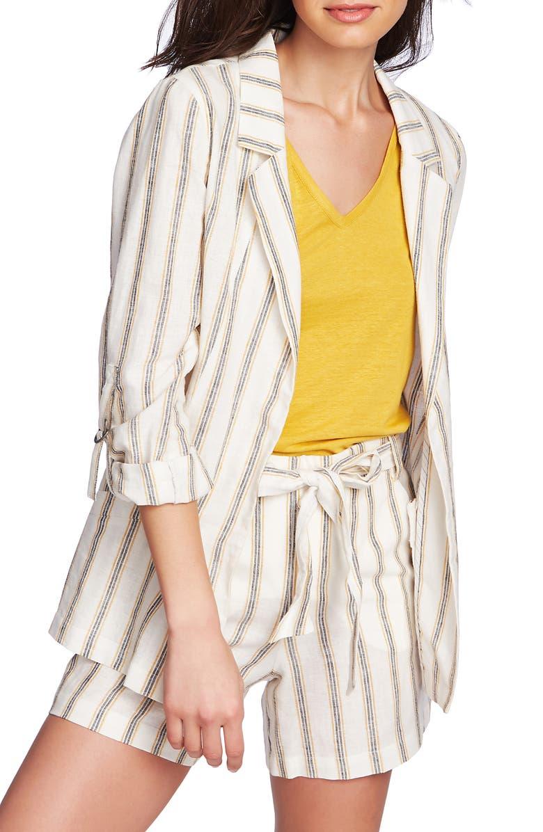 1.STATE Cabana Stripe Roll Sleeve Jacket, Main, color, 100