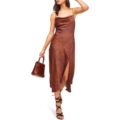Astr The Label Cowl Neck Midi Dress, Brown