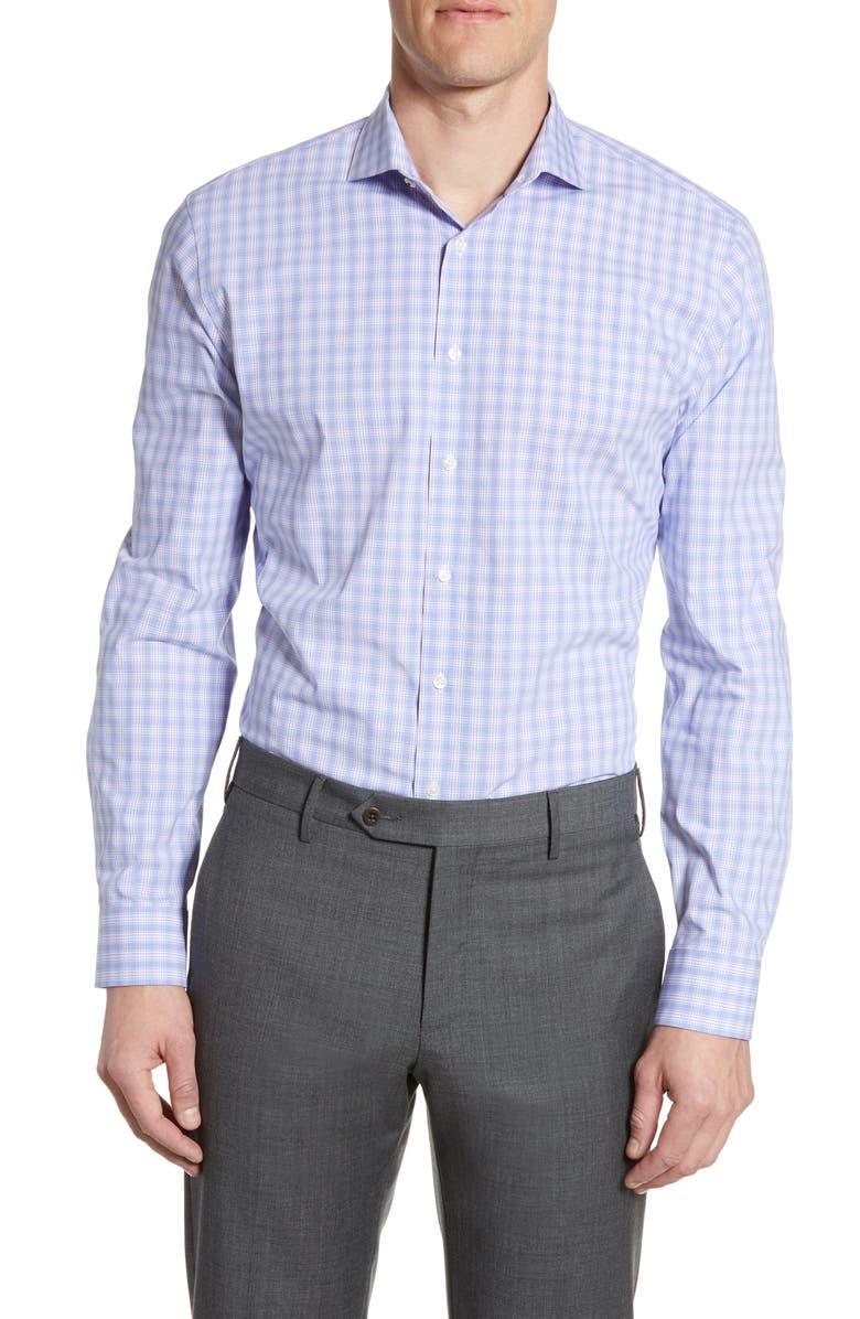 NORDSTROM MEN'S SHOP Tech-Smart Trim Fit Stretch Plaid Dress Shirt, Main, color, PURPLE VILLA