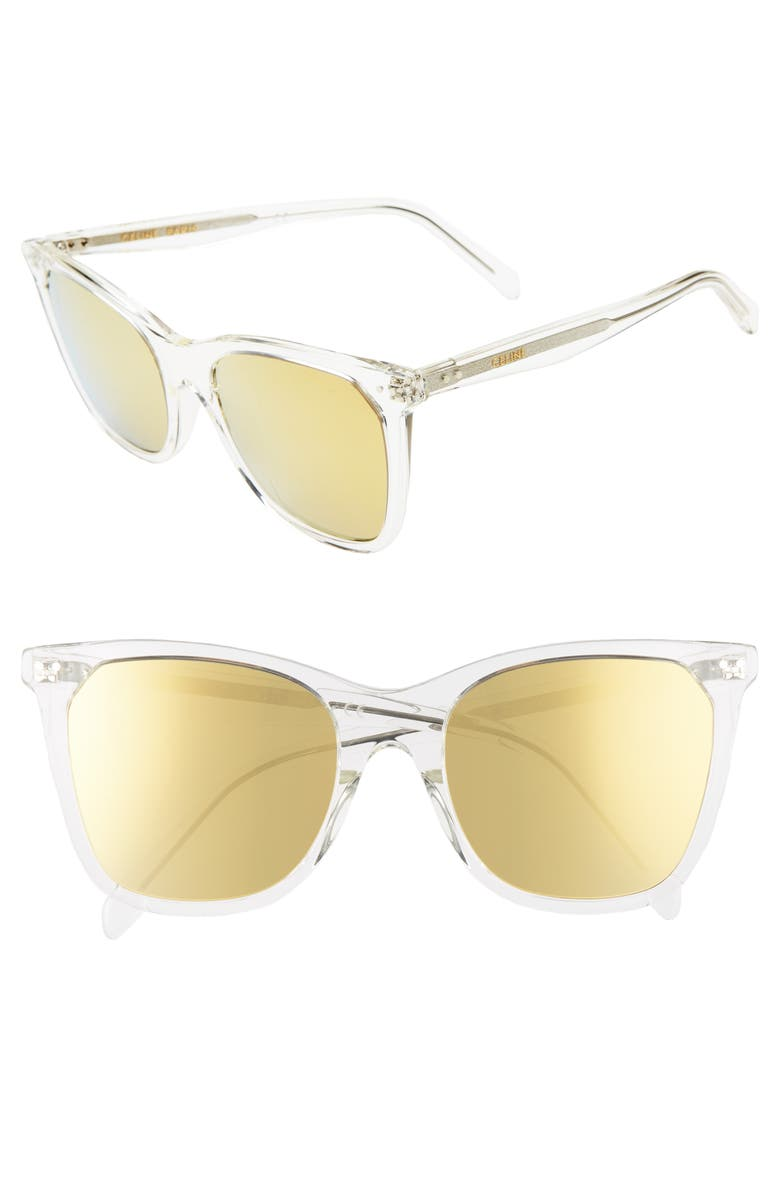CELINE 55mm Cat Eye Sunglasses, Main, color, WHITE CRYSTAL/ BROWN MIRROR