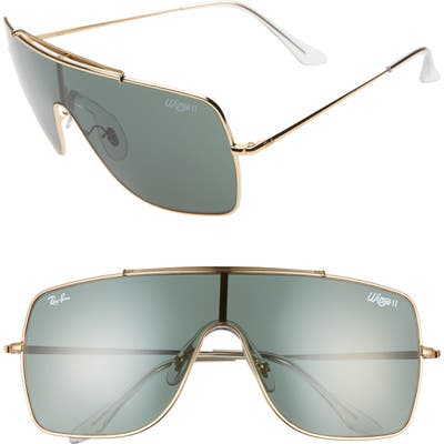 Ray-Ban Wings Ii 6m Shield Sunglasses - Gold/ Green Solid