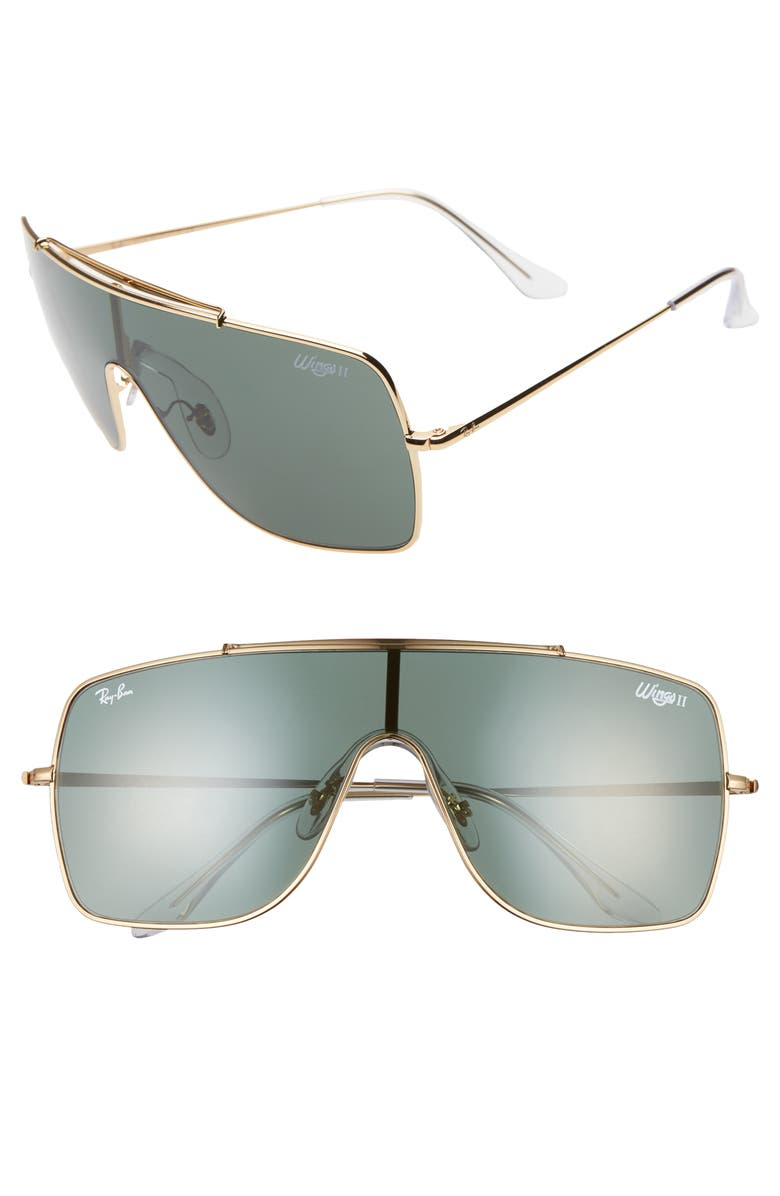 RAY-BAN Wings II 66mm Shield Sunglasses, Main, color, GOLD/ GREEN SOLID