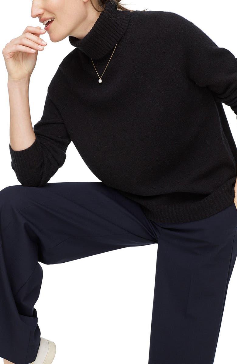 J.CREW Supersoft Yarn Turtleneck Sweater, Main, color, BLACK