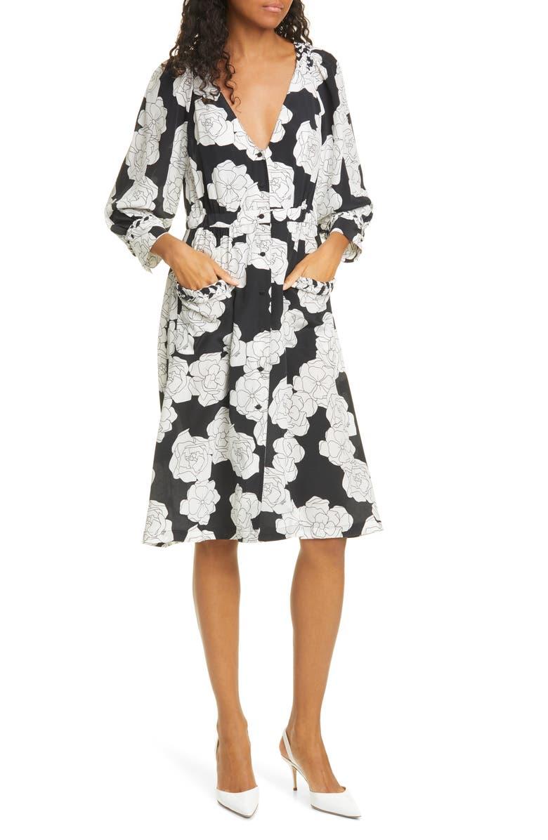 DYVNA Long Sleeve Floral Silk Shirtdress, Main, color, BLACK FINE FLOWER