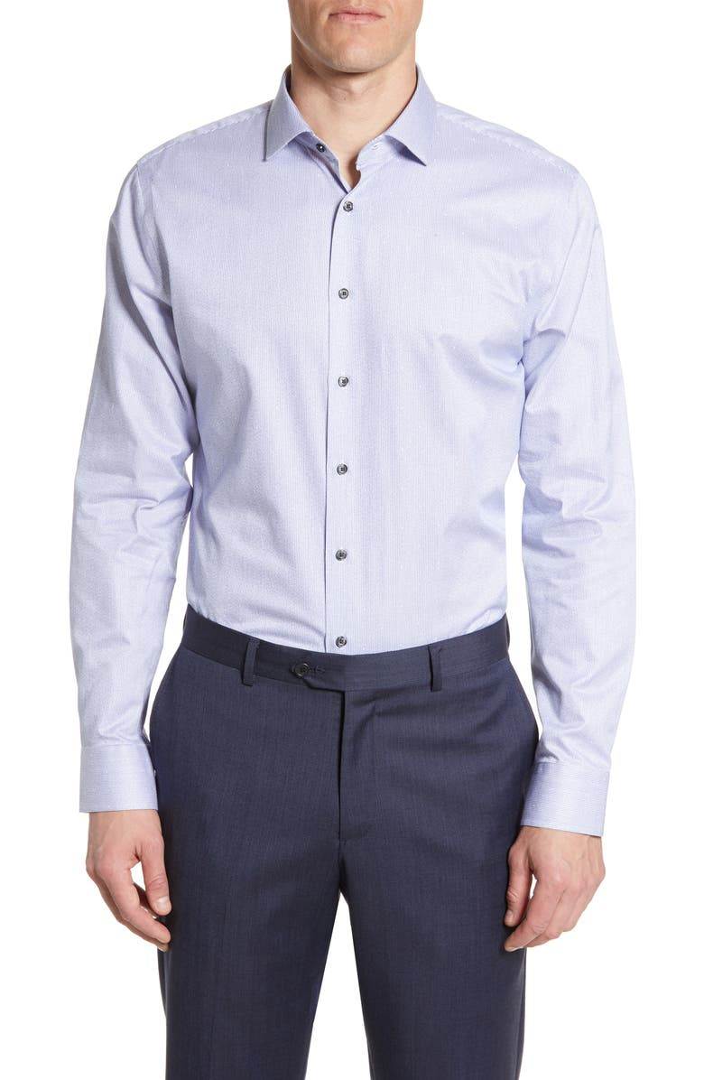 CALIBRATE Trim Fit Stripe Dress Shirt, Main, color, BLUE MARINE