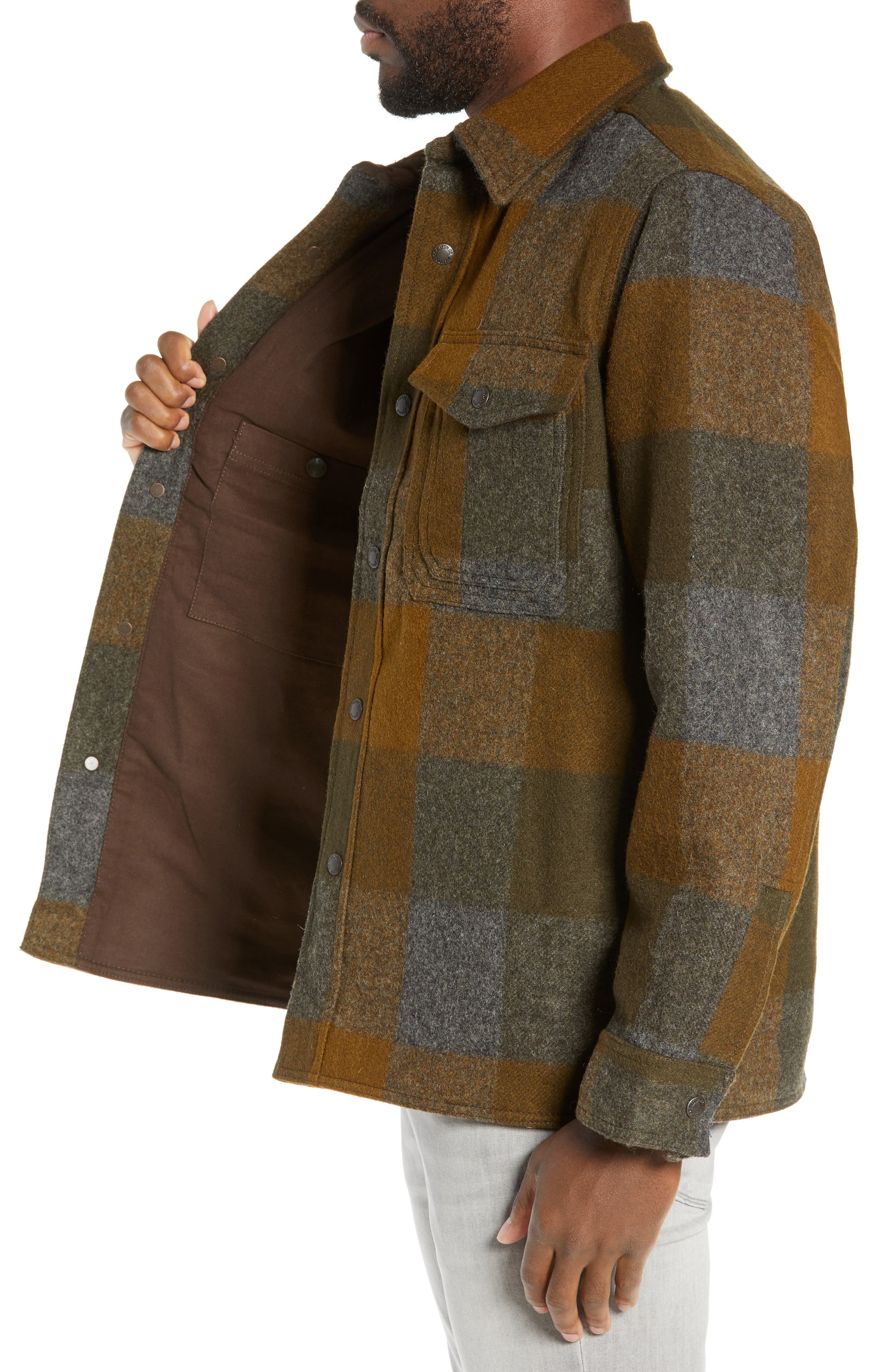 ,                             Mackinaw Plaid Wool Flannel Shirt Jacket,                             Alternate thumbnail 4, color,                             DKMIL
