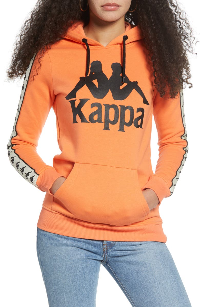 KAPPA 222 Banda Daffix Hoodie, Main, color, MELON/ WHITE EGG/ BLACK