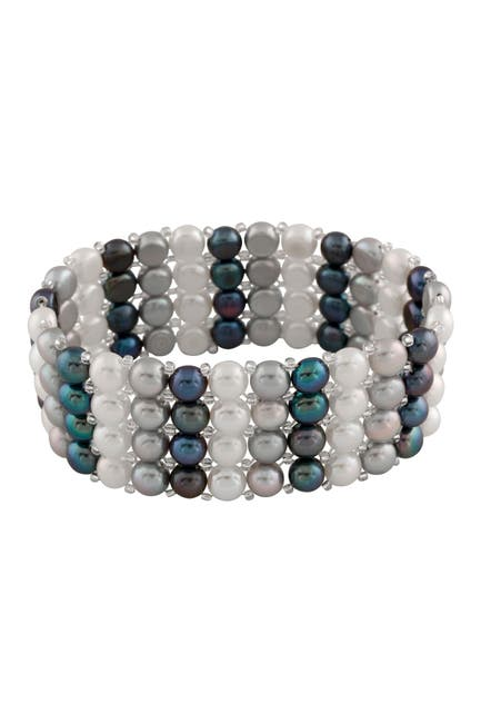 Image of Splendid Pearls 6-7mm Multicolor Dyed Freshwater Pearl Bracelet