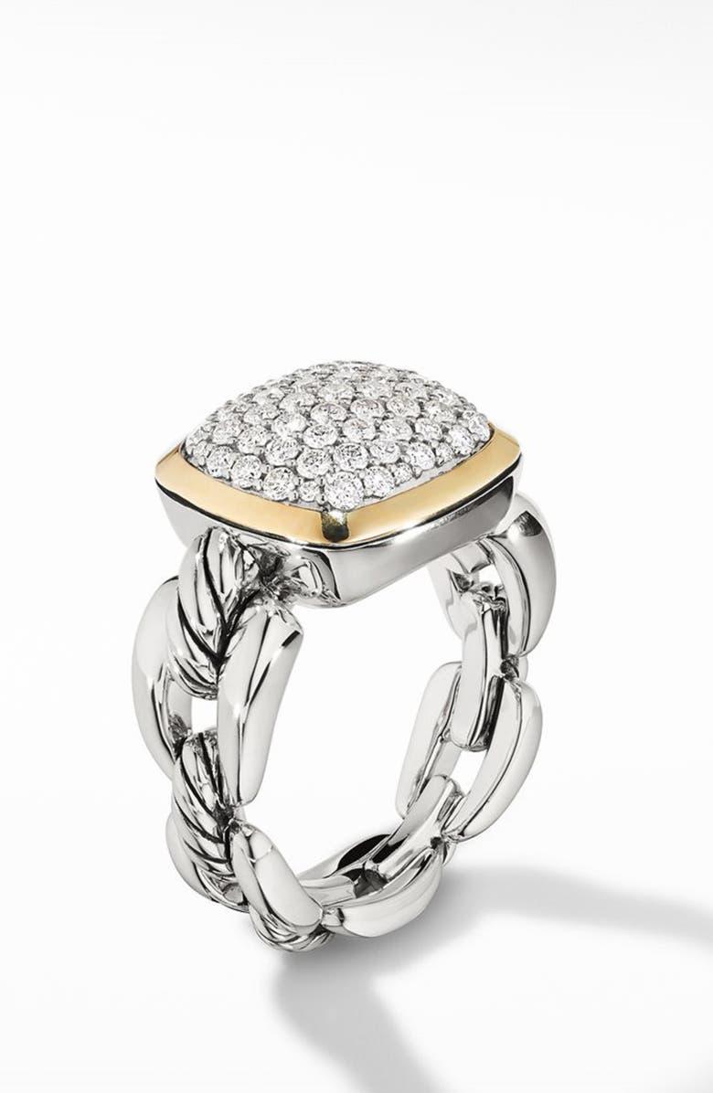 DAVID YURMAN Wellesley Link Statement Ring with 18k Gold & Diamonds, Main, color, SILVER/ DIAMOND