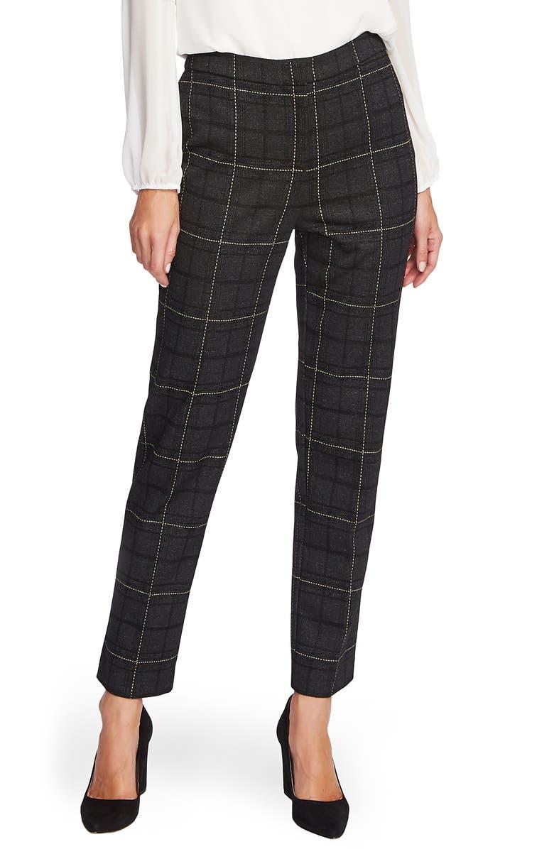 VINCE CAMUTO Windowpane Plaid Ankle Pants, Main, color, RICH BLACK