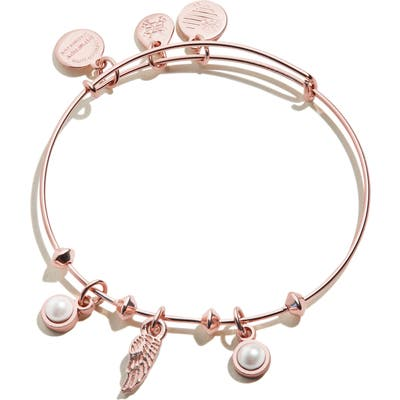 Alex And Ani Angel Wing & Simulation Pearl Expandable Wire Bangle