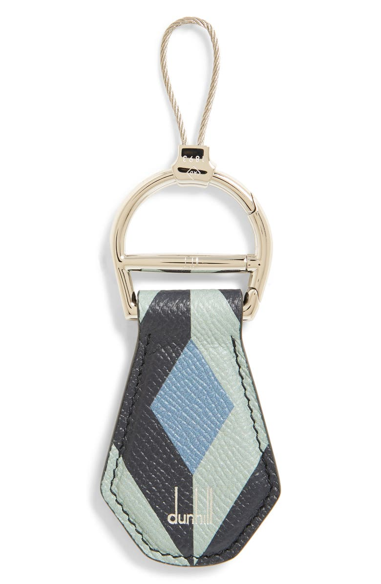 DUNHILL Cadogan Leather Key Chain, Main, color, BLUE