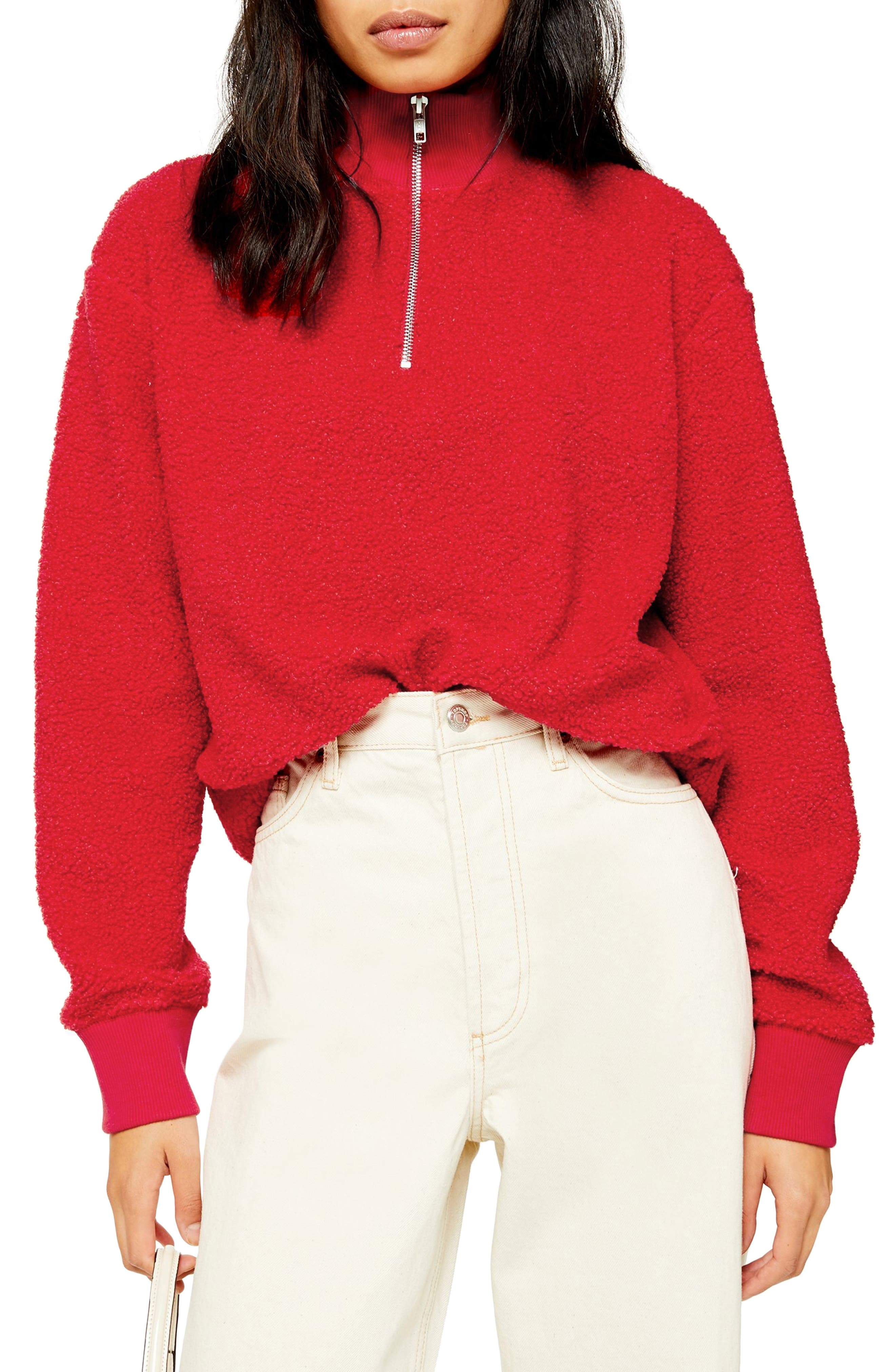 Topshop Half Zip Funnel Neck Sweatshirt