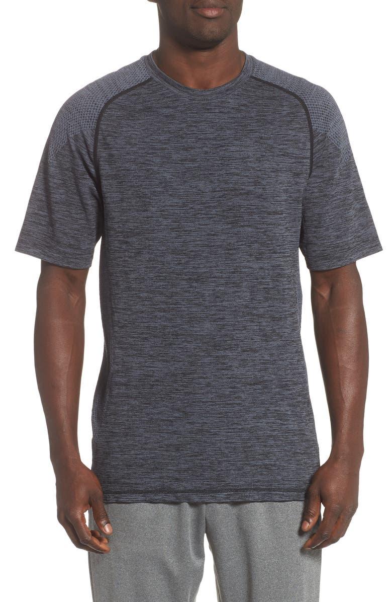 ZELLA Seamless T-Shirt, Main, color, BLACK OXIDE MELANGE