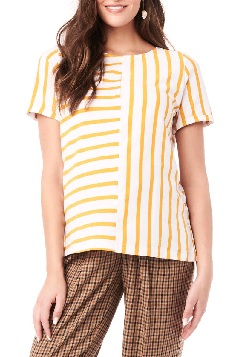 LOYAL HANA Ginger Stripe Maternity/Nursing Shirt, Main, color, WHITE AND YELLOW STRIPES