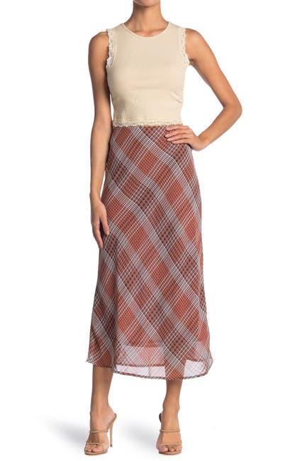 Image of Know One Cares Plaid Chiffon Midi Skirt